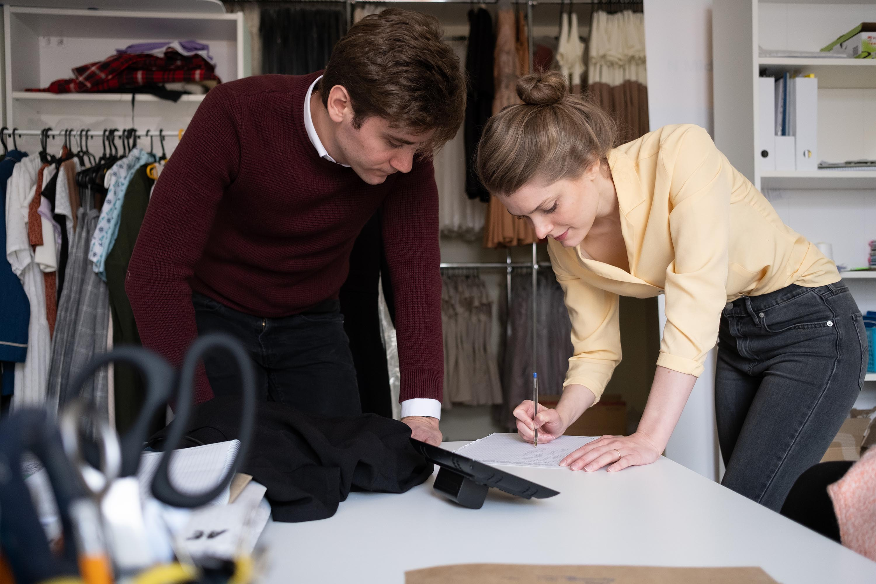 Kelly and her husband Alexander working together on new designs.
