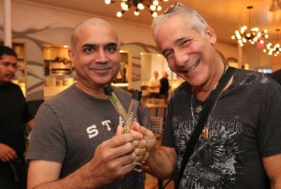 MiMo Thursdays at the Vagabond Kitchen and Bar. Left Ashwin Kochiyil Philips, right Randy Singer with ZAMACA shots