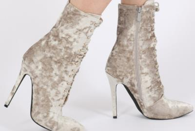 Public Desire: Champagne Julissa Crushed Velvet Lace-Up Ankle Boots, fashion picks by Adriana Wong