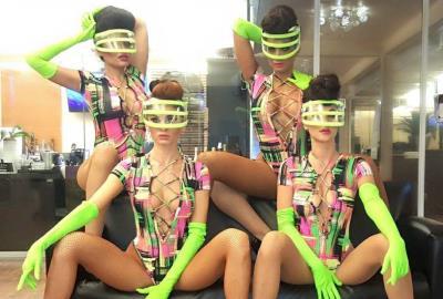 Zhantra Entertainment company, Performers girls in Miami, Neon bodysuits